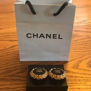 Chanel Black Enamel Clip Earrings